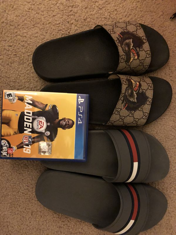 a667cb1e8f1 Gucci and Tommy Hilfiger slides Madden 19 game PS4 for Sale in ...