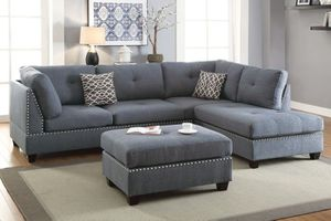 Brand new blue grey linen sectional sofa with ottoman for Sale in Silver Spring, MD