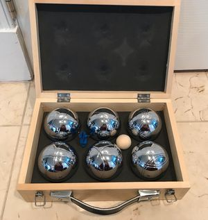 Pétanque Lawn Game Boules Metal Balls Bocce Set of 6 w/Wood case for Sale in Centreville, VA