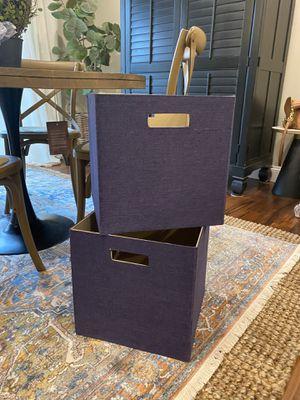 "Photo TWO large Closet Maid organizer bins in purple. 13"" square. $14/both"