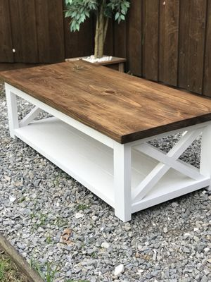 Solid Wood Coffee Table Farmhouse Rustic White And Brown For In Allen Tx