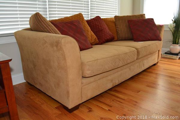 Lloyd S Of Chatham Tan Faux Suede Couch