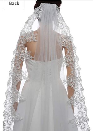 Cathedral length ivory lace and sequin wedding veil - new for Sale in Silver Spring, MD