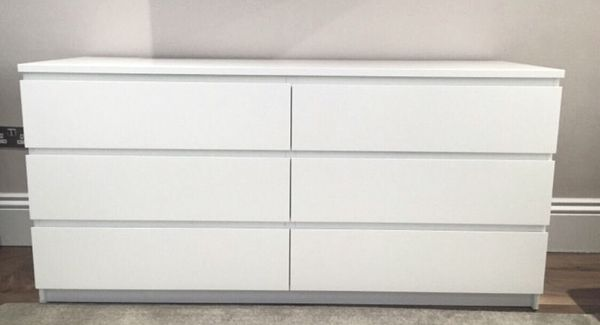 Ikea Malm White 6 Drawer Dresser Chest
