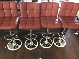 Photo Brand new set of victory red bar stools / victory red pub stools height adjustable and swivel