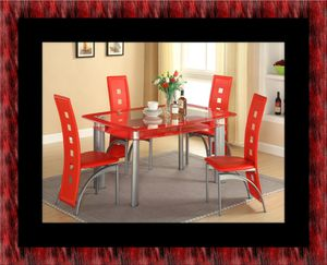 Glass red dining table with leather chairs for Sale in Bowie, MD