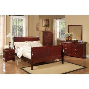 Queen bedroom set...bed dresser mirror chest and nigth stand $575 for Sale in Alexandria, VA