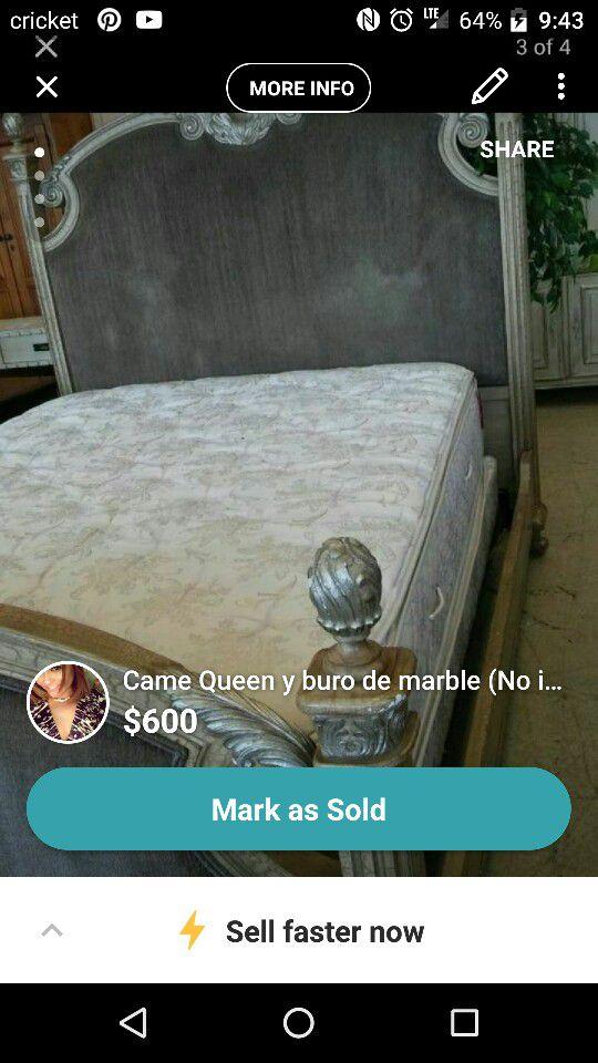 Cama Queen Y Buro De Marble No Incluye Colchon For Sale In