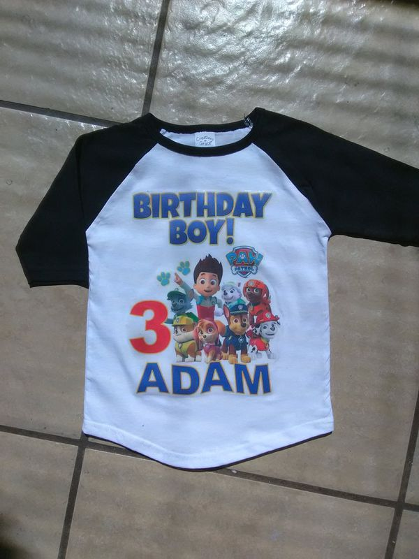 Paw Patrol Birthday Shirt On Baseball Tee