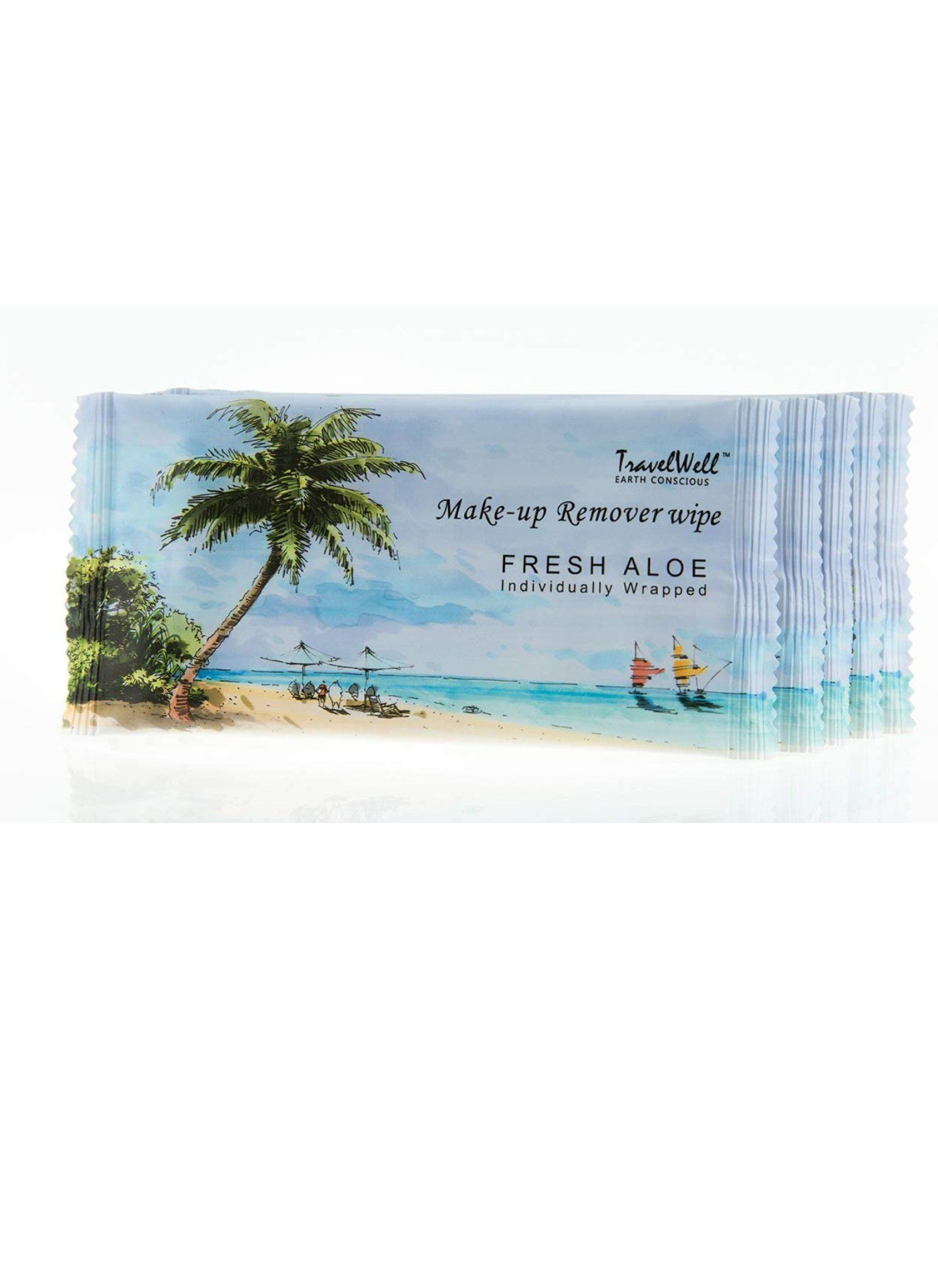 TRAVELWELL - 100 Fresh Aloe Individually Wrapped Makeup Remover Cleansing Travel Wipes