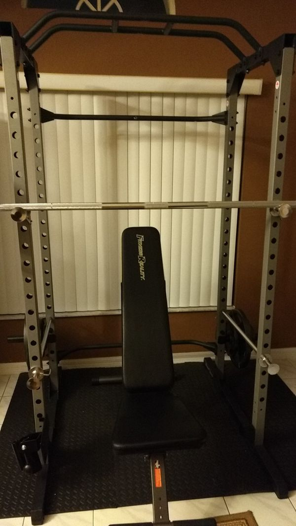 Fitness Reality Power Rack Bench Presses Squats Pull Ups Has