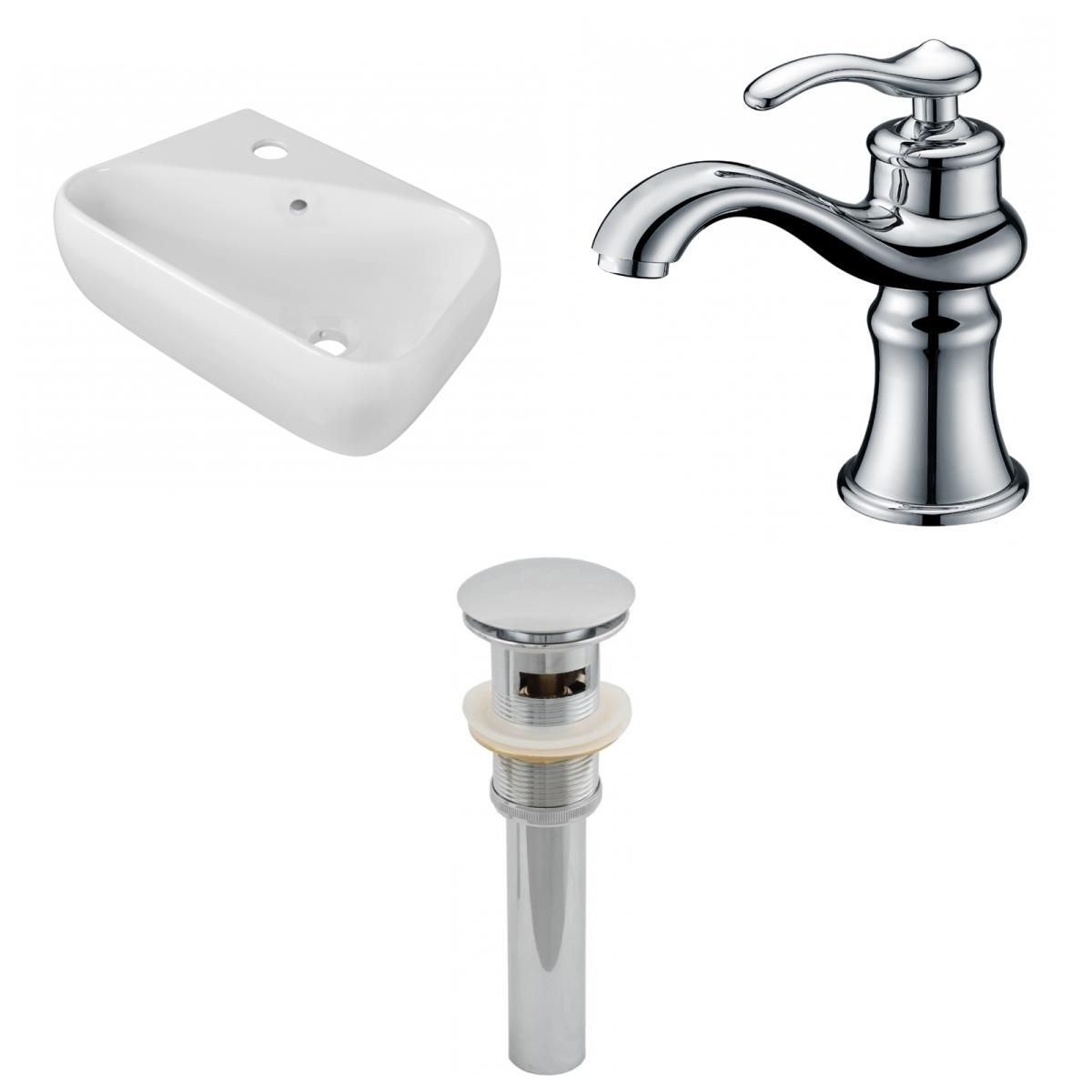 American Imaginations AI-26260 17.5 in. Rectangle Above Counter White Vessel Set for 1 Hole Left Faucet