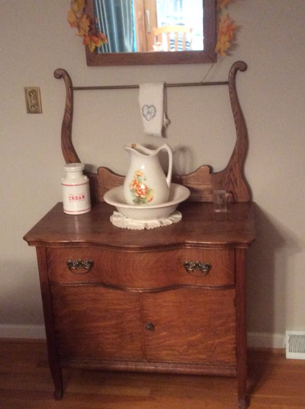 Antique Oak Wash Stand With Mirror For Sale In Virginia Beach Va