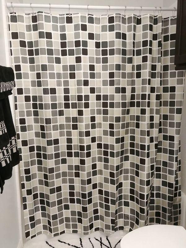Fabric Shower Curtain Waterproof And Mildew Free Gray Mosaic