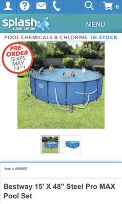 "Bestway Steel Pro Max Swimming Pool w 1000GPH Filter, 15x48"" Round Thumbnail"