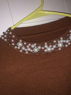 Gorgeous sweater with pearls NEW ! Size S-M Thumbnail