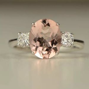925 sterling silver morganite wedding engagement proposal casual ring women's jewelry accessory Christmas gift for Sale in Silver Spring, MD
