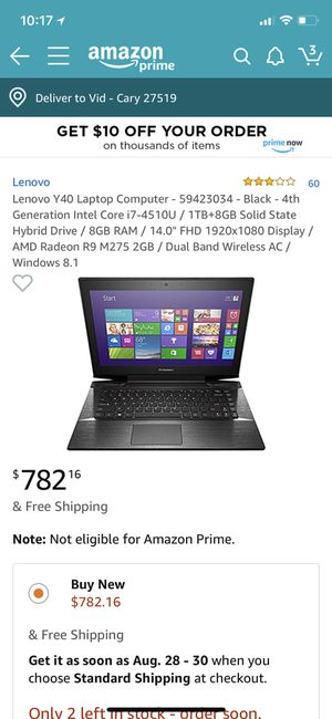 SELLING LENOVO GAMING COMPUTER. DISCOUNTED RATE:$300 OR BEST OFFER. NEED TO SELL QUICK for Sale in Cary, NC