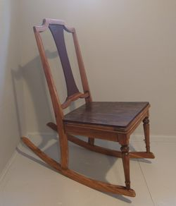 Kids (age 4+) rocking chair wooden, gently used Thumbnail