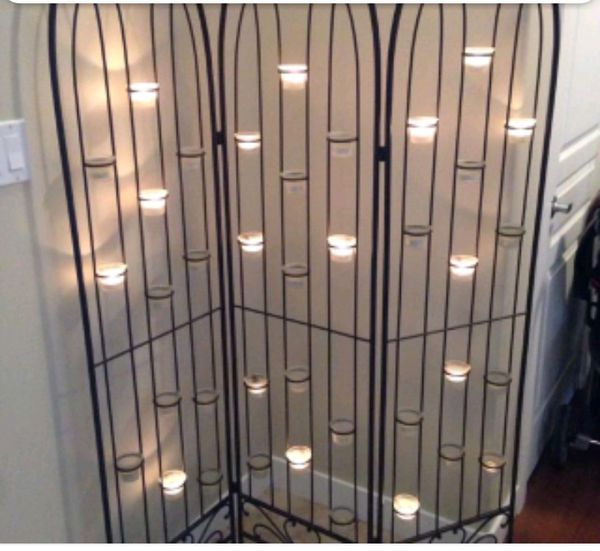 Heavy duty Black Iron room divider candle holder for Sale in