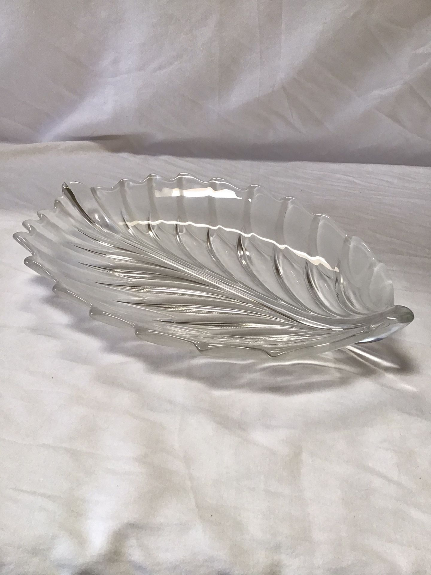 Frosted and Clear Glass Leaf Shaped Platter