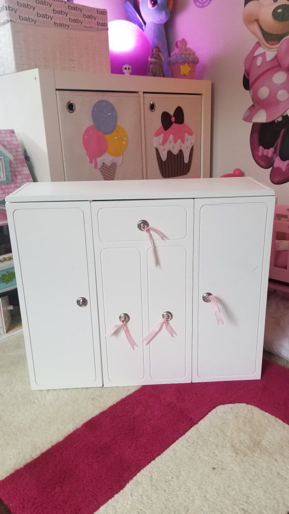 Our Generation Dolls Wooden Closet Wardrobe Doll 18 American