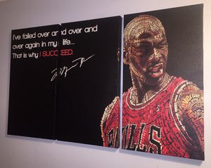 Michael Jordan Large Canvas print 3 piece with motivational quote for Sale in Riverbank, CA