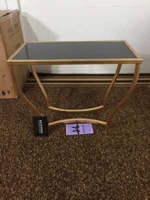 Photo NIB black granite and real gold leaf accent table. MSRP $352