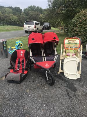 Double stroller Bob, car seats , highchair, Graco pack and play, little desk for Sale in Laytonsville, MD
