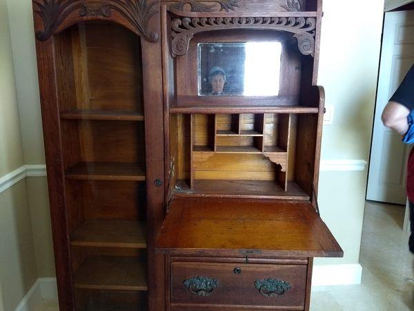 Antique Secretary Cabinet Hutch Tiger Oak Antiques In