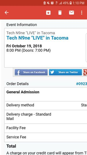 2 tickets to Tech N9ne in Tacoma for Sale in Tacoma, WA