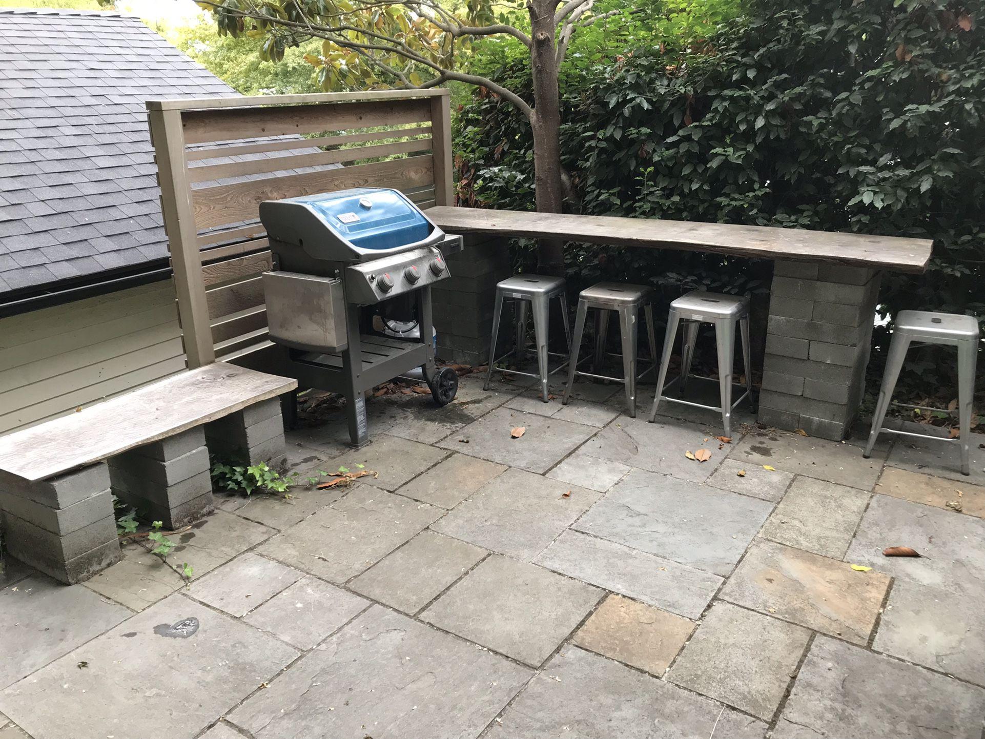 FREE: Two Live Edge Cedar Pieces & Fifty 8x16x4 Concrete Blocks