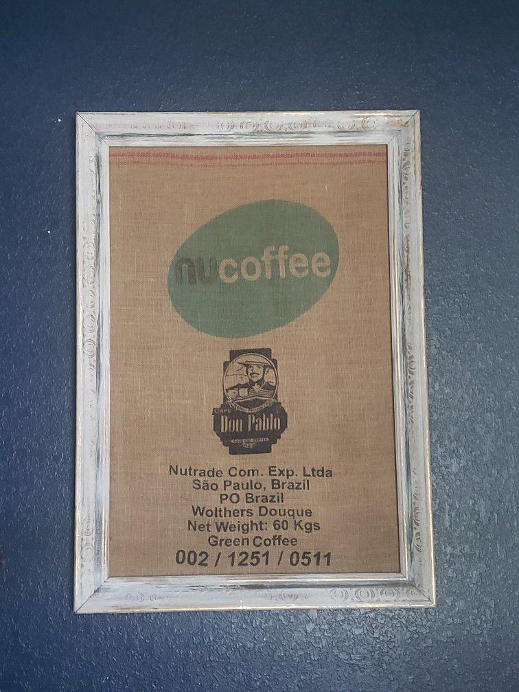 Extra Large Framed Coffee Bean Burlap Bag