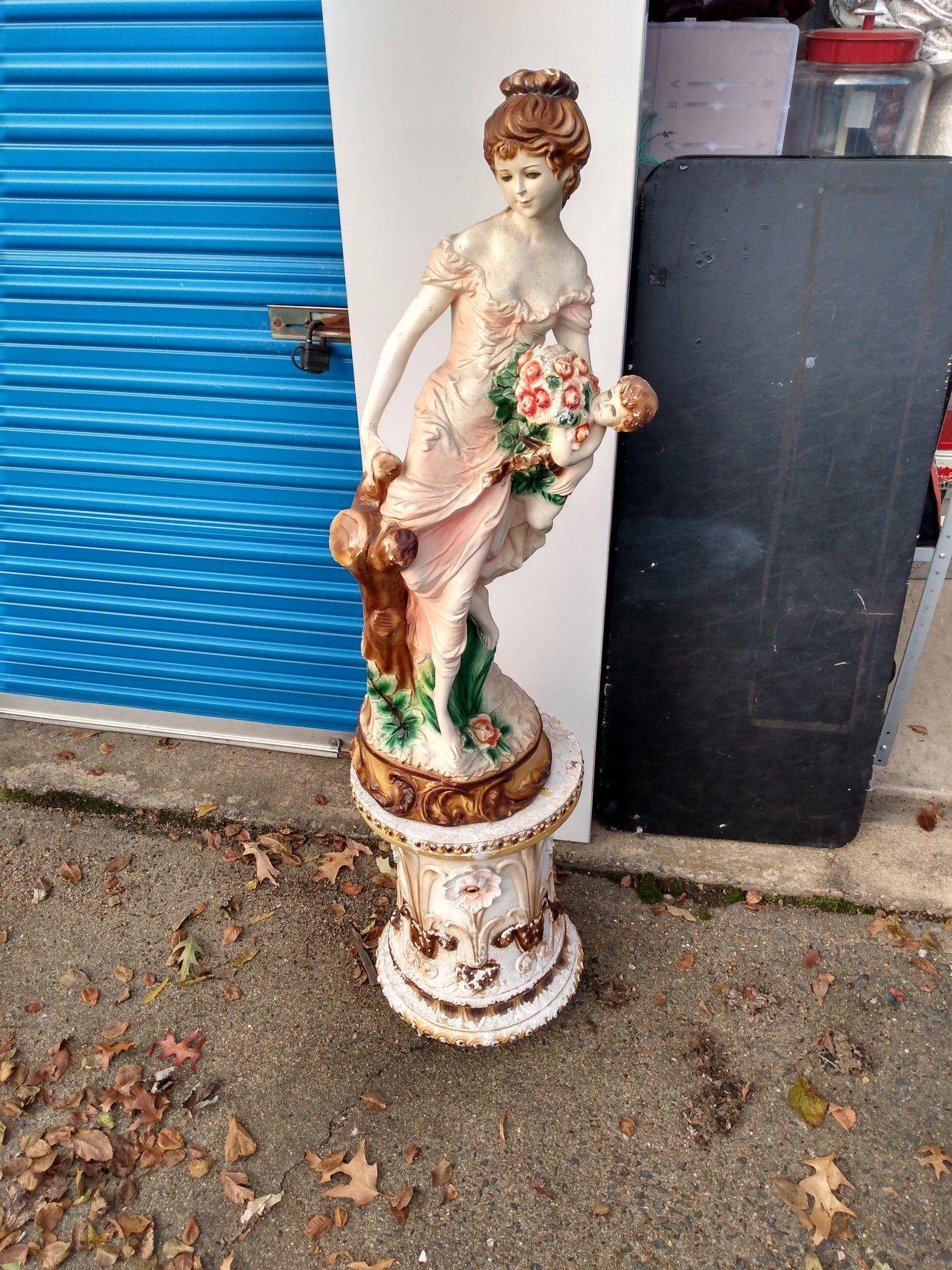 "Majolica-56"" Lady Statue on base"