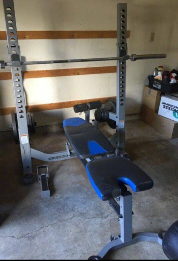 Nautilus Folding Bench Press Squat Rack Olympic Bars And Weights For Sale In Tukwila Wa Offerup