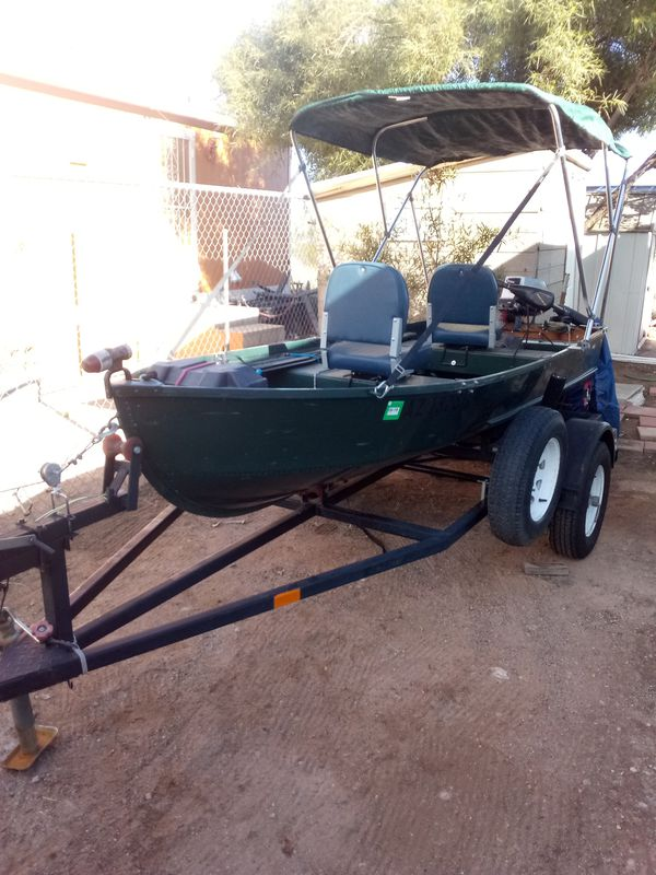 12ft aluminum Cabela's fishing boat complete setup motor trailer fish  finder trolling motor or everything complete ready to fish for sale $2,000  for