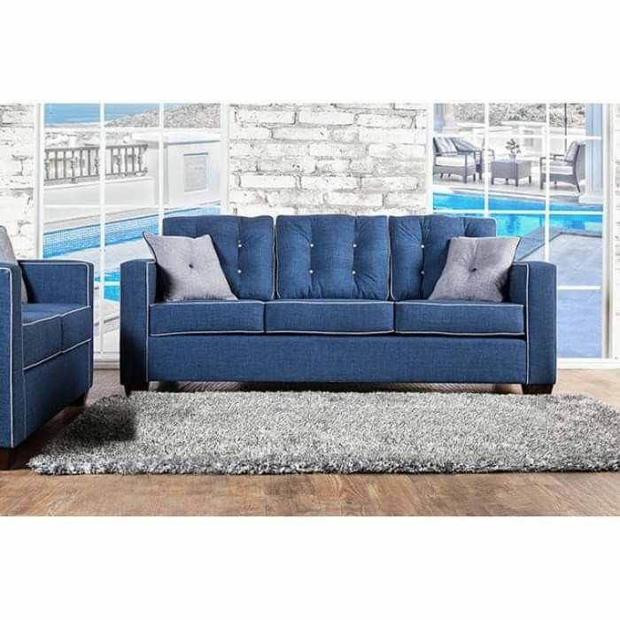 BLUE FABRIC MADE IN THE USA Button Tufted Back SOFA Box-Sheet Cushion High-Density Foam Cushions