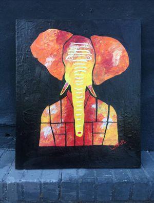 ''The happy ELEPHANT portrait'' / positive art painting by artist W.C-M.T.L for Sale in Arlington, VA