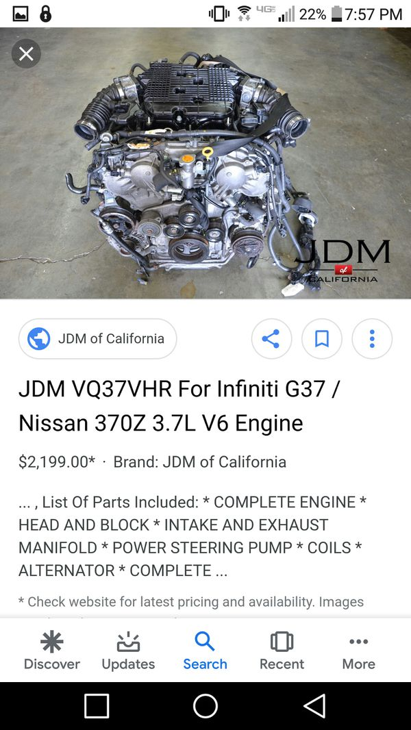 Vq37vhr !! 370z / infinity g37 engine ! For engine swap! for Sale in El  Paso, TX - OfferUp
