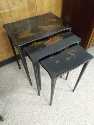 Set of three oriental style nesting tables for sale for Sale in St. Louis, MO