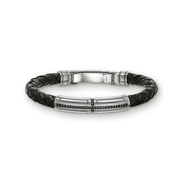 Men's Thomas Sabot Silver, Stone & Leather Cross Bracelet