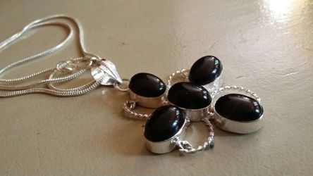Black onyx pendant Sterling Silver gemstone new necklace chain Thumbnail