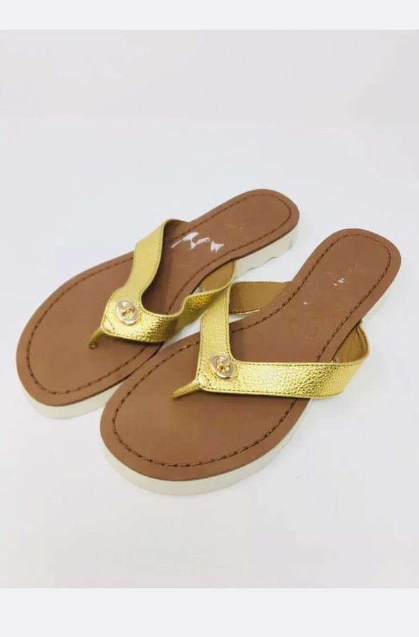 a032590f6c85 NEW Coach Shelly Women Open Toe Leather Flip Flop Sandal Gold Sz 6  98 for  Sale in Garden Grove