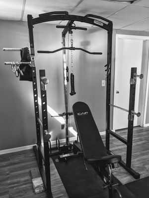 Photo Marcy multi-fonctional cage with adjustable bench complete olympic weights set and barbell