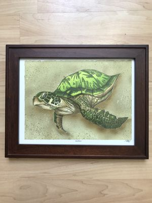 """Mike Rohner Art """"Honu"""" with Frame for Sale in San Diego, CA"""