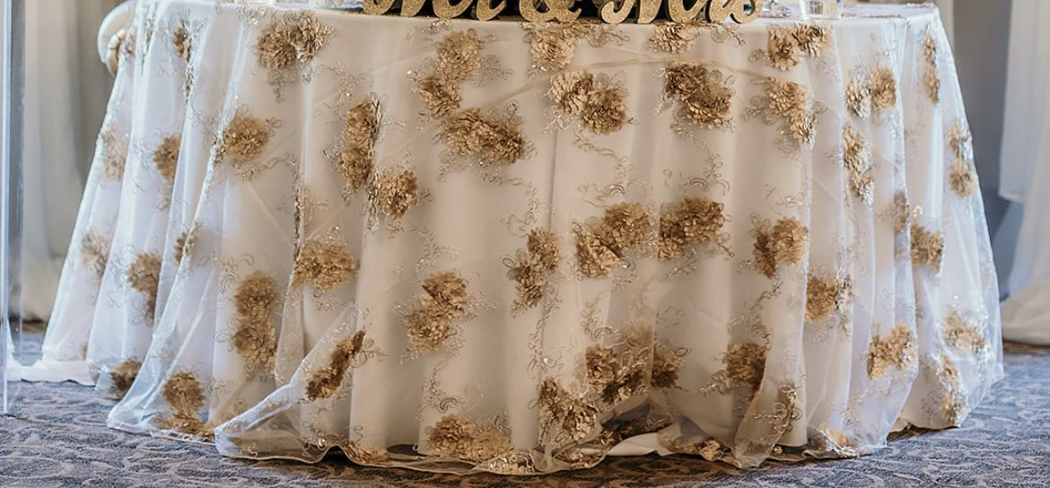 Champagne embroidered lace table Overlay