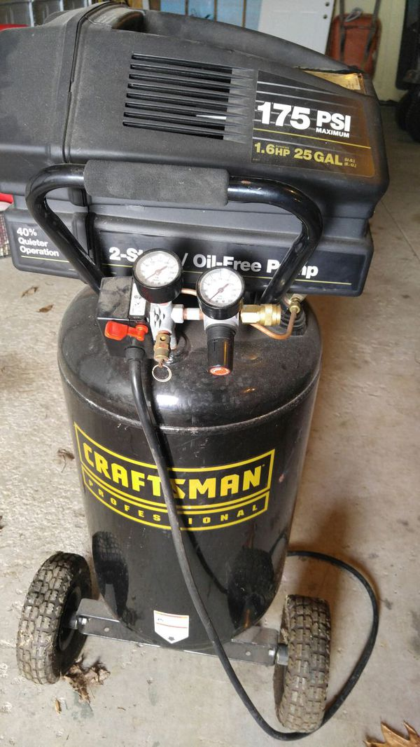 Craftsman Professional 25 Gal Air Compressor 1 6 Hp Vertical Tank For Sale In Princeton Il Offerup
