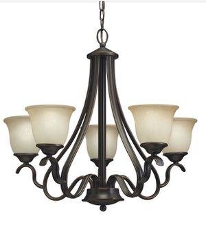 Set of Bronze Light Fixtures - 5-glass chandelier and bell pendant for Sale in St. Louis, MO