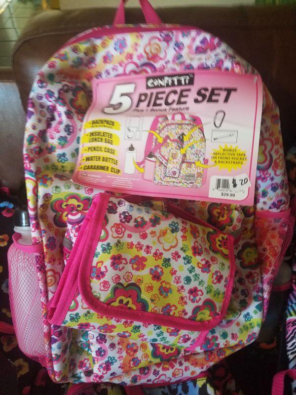 9e32787dc3 Girls Confetti Emoji 5 Piece Backpack Set. Denim Emoji Style Print. Pack