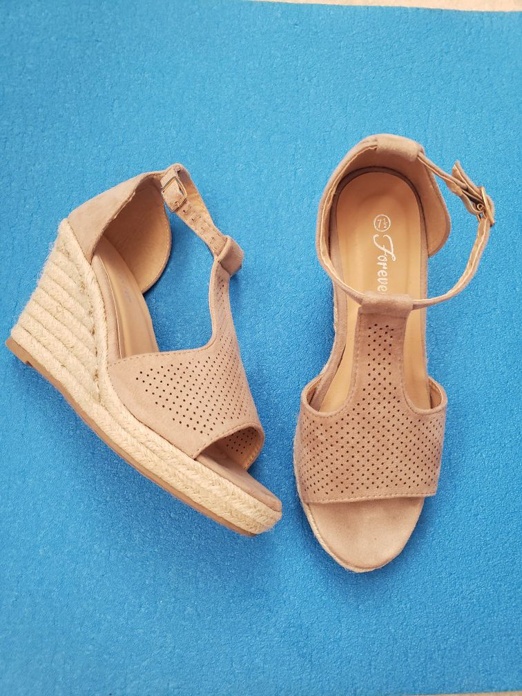 7.5 Super cute nude wedge shoes- worn only to a wedding